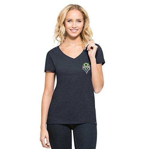 MLS Seattle Sounders Fc Women's '47 Clutch MVP V-Neck Tee, Fall Navy, Medium (Seattle Cap Sleeve T-shirt)