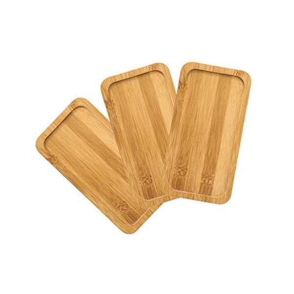 Vassoio in bambù di Forma Rettangolare Stabile Vassoio da tè in bambù Vassoio in bambù Riutilizzabile di Alta qualità 3…