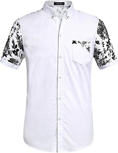 SSLR Men's Flowered Regular Fit Short Sleeve Button Down Shirts (Medium, White Black) - Black And White Shirts For Men