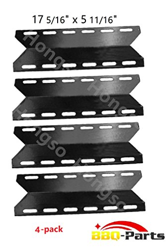 Hongso PPB341 (4-pack) BBQ Gas Grill Porcelain Steel Heat Plates, Heat Shield, Heat Tent, Burner Cover, Vaporizor Bar, and Flavorizer Bar Replacement for Charmglow, Nexgrill, Perfect Flame(17 5/16