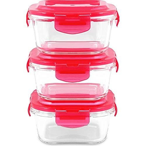 Glass Food Storage Container Set   6 Pcs (3 Container + 3 Lids)   Square  Shape   520 Ml   Red   Reusable   Multipurpose Use For Home Kitchen Or  Restaurant ...