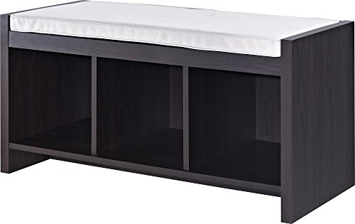 Ameriwood Home Penelope Entryway Storage Bench with Cushion, Espresso - Small Storage Bench