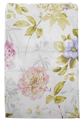 Spring Fling Pastel Hydrangeas and Wild Roses Vinyl Flannel Backed Tablecloth on White and Gray Printed Background (60