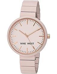 Nine West Womens NW/2012LPRG Matte Pastel Pink Rubberized Bracelet Watch