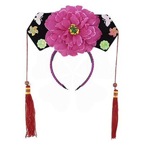 Girls Floral Decor Oriental Chinese Princess Hairband Hat Headdress Pink Black by Ugtell
