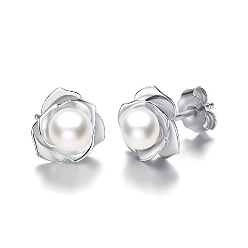 Silver Rose Flower White Freshwater Cultured Pearl Stud Earrings