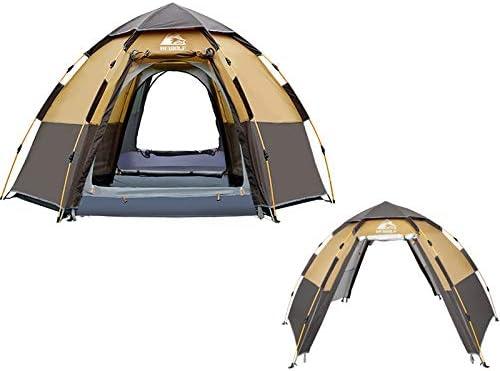 Tent Hewolf 1789 Outdoor Camping Zeshoekige Automatische Regendichte Tent, Vlaggenschip Versie (Koffie) Mint Blauw Koffie