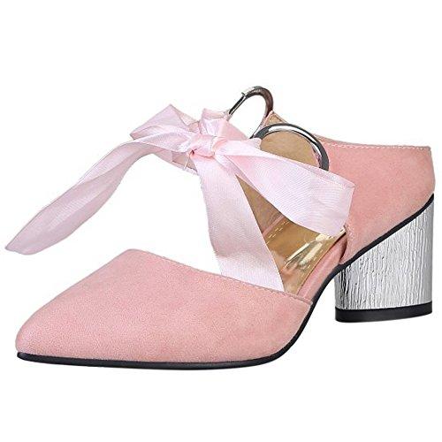 COOLCEPT Mujer Moda Tacon Medio Ancho Mary Janes Sandalias Mulas Cerrado Talon Abierto Zapatos Rosado