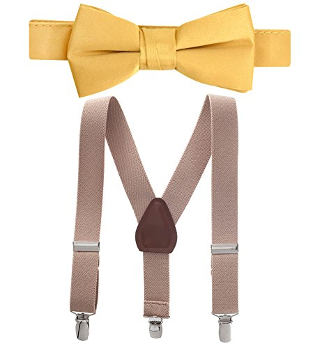 Hold'Em Suspender and Bow Tie Set for Kids, Boys, and Baby - Proudly Made in USA - Extra Sturdy Polished Silver Metal Clips, Pre tied Bow Tie-Tan 22