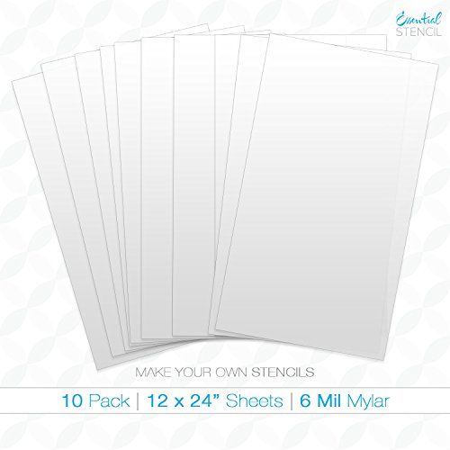 9 X 12 Stencil (MAKE YOUR OWN STENCIL - 10 Sheets of 12 x 24 inch blank stencils - Ideal for use with Cricut & Silhouette machines (12 x 24))