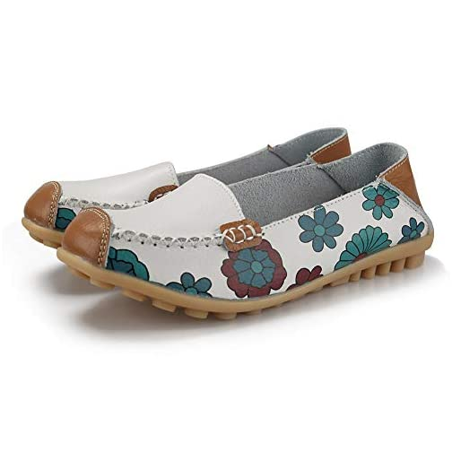 Ablanczoom Womens Comfortable Leather Floral Print Flats Casual Driving Loafers Walking Shoes for Women |