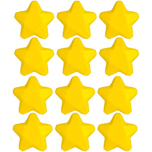 """2.5"""" Stress Star –– 12 Pieces Yellow Heavenly Body Squishy Toy – Party Giveaways, Hand Therapy, Anxiety Reliever, Venue Decoration, Motor Workout, Playtime Activity, Small Game -"""