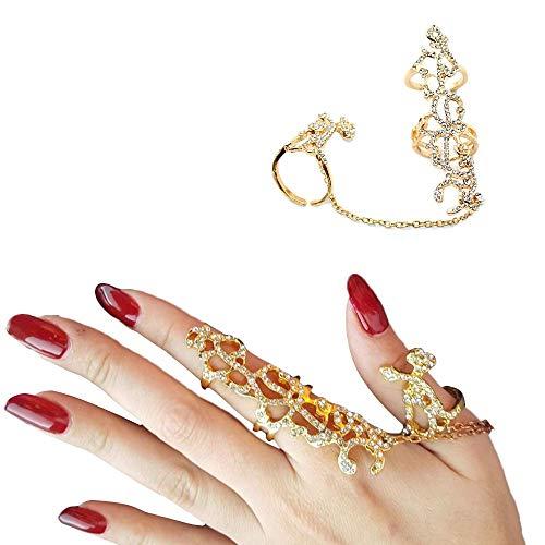 Happy Hours - Adjustable Plating Rose Rings / Multiple Finger Stack Knuckle Band Hollow Bling Ring Crystal Set(Golden)