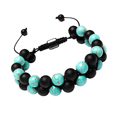 (Leefi Women Mens 8mm Turquoise Beads Healing Power Matte Black Onyx Bracelet Braided Rope Adjustable Bracelet(Onyx,Turquoise))
