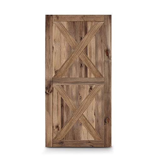 THE EveryMart 42in x 84in Double X Sliding Barn Door Unfinished Pine Wood Panelled Slab, Brown