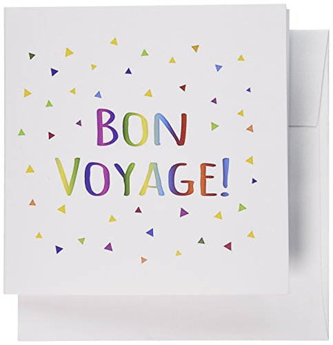 Party Invitation Greeting Card (3dRose Greeting Cards, 6 x 6 Inches, Pack of 12, Bon Voyage Colorful Rainbow Text (gc_202068_2))