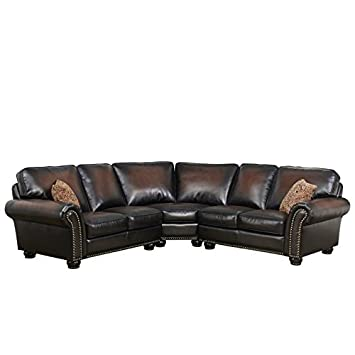 Wondrous Amazon Com Abbyson Jamie Leather 3 Piece Sectional In Brown Caraccident5 Cool Chair Designs And Ideas Caraccident5Info