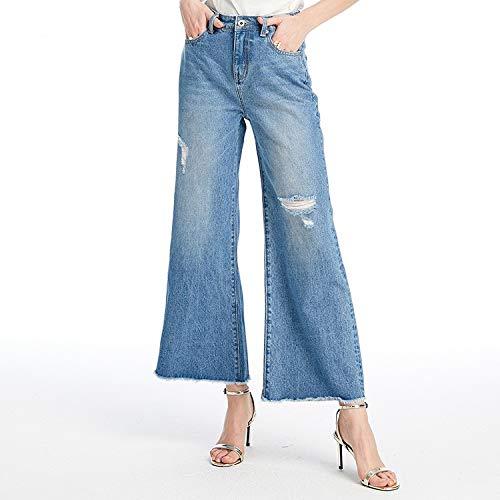 Sfusi Gamba Blu Xs Larga Alta E Mvguihzpo Pantaloni Jeans Cowboy Vita L Donna A qPRAwp1
