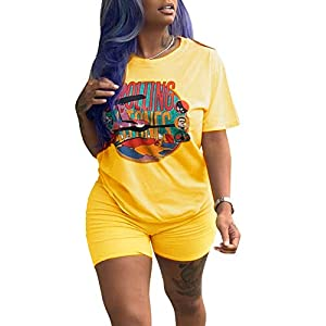 NVXIYYA Women Club 2 Piece Jumpsuit Round Neck Short Sleeve Cartoon Print Tee Shirts Tight Outfit Rompers Shorts Yellow…