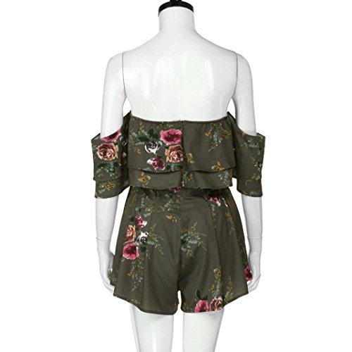 7fe80c475e19 Amazon.com  Sunward Women s Summer Ruffle Off Shoulder Floral Print Jumpsuit  Playsuit Rompers  Clothing