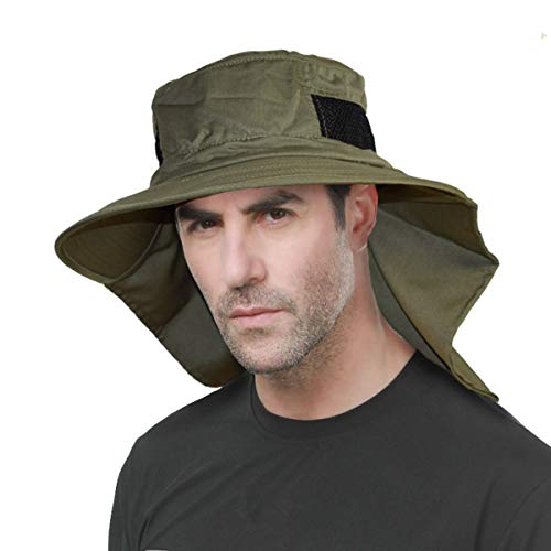 HLLMAN Ourdoor Sun Protection Cap Fishing Hat Breathable Mesh Wide Brim with Neck Flap(Army)