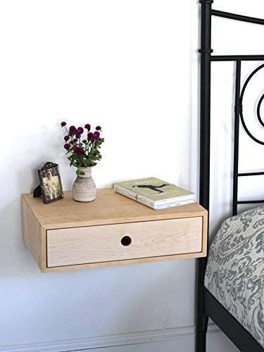 Floating Nightstand with Drawer in Solid Maple
