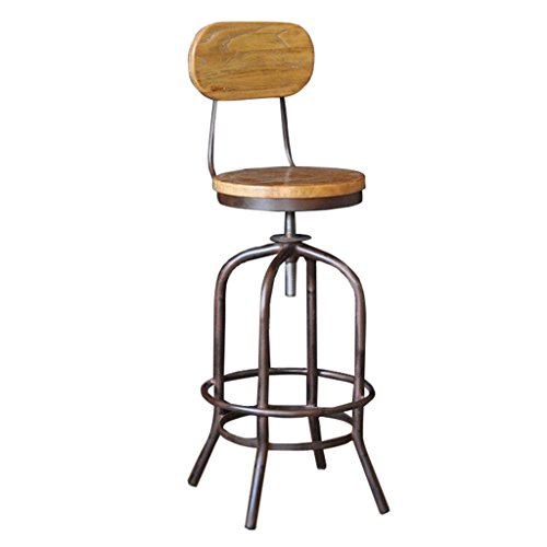 A-Fort Retro Kitchen bar Stool with Black Metal Frame and Solid Wood seat Industrial Style, backrest footrest - Adjustable Height (Size : 404070CM)