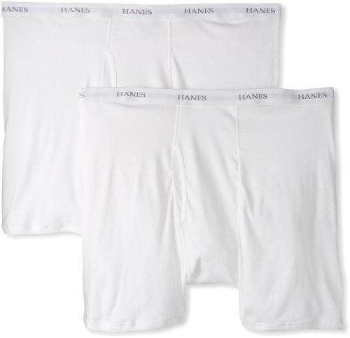 HANES Men's Classics 2 Pack Big Boxer Brief, White, XX-Large