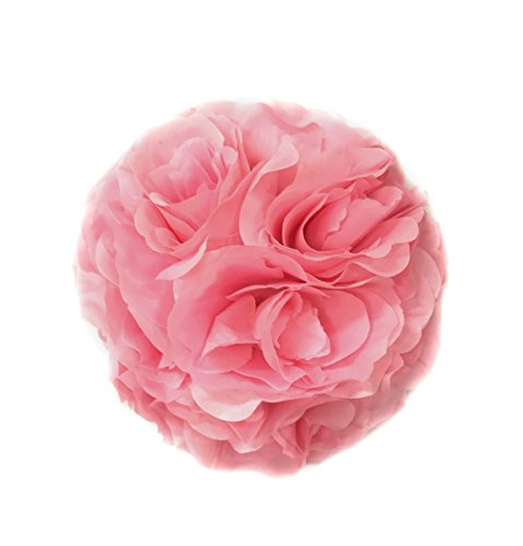 Ben Collection 10 Pack of Fabric Artificial Flowers Silk Rose Pomander Wedding Party Home Decoration Kissing Ball Trendy Color Simulation Flower (Pink, 20cm)