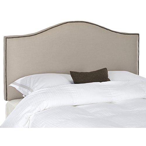 Safavieh Connie Taupe Grey Linen Upholstered Headboard - Brass Nailhead (Queen)