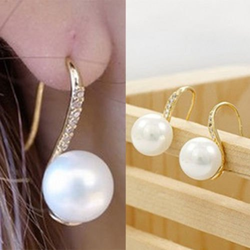 TryMarket(TM) Fashion Jewelry Drop Earings Crystal Hook Earings Girl Chic Faux Pearl Earing LY