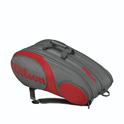 Wilson Team Racquet Bag (Holds 12-Racquet), Gunmetal/Red
