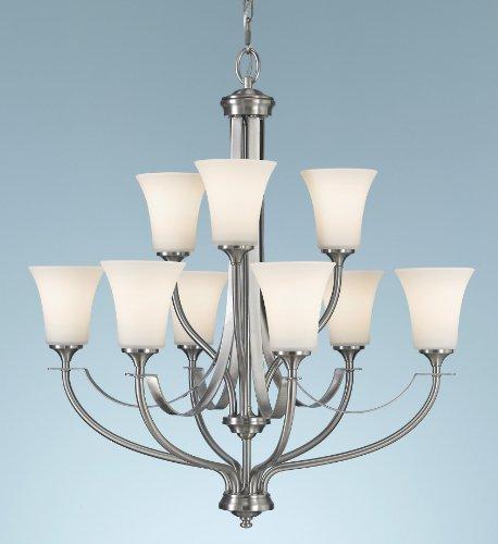 Feiss F2253/6+3BS Barrington Glass Chandelier , 9-Light, 900watts, Brushed Steel (5