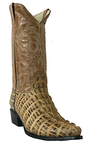 Men's Crocodile Alligator Tail Cut Lather Cowboy Western J Toe Boots Sand (12 E US) (Beige Mens Cowboy Boot)