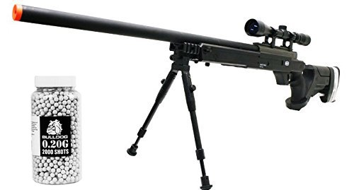 Airsoft Spring Sniper Rifle [Well MB05] Scope - Bipod [450 FPS – 164' Range] .20g Bulldog 2000 Pellets [Speed Loader] (2000 Top Loaders)
