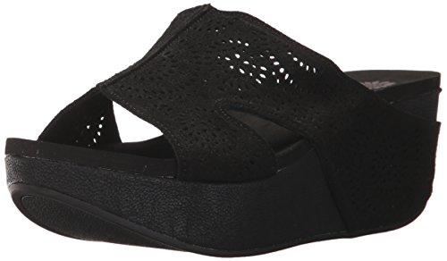 Gele Doos Vrouwen Zager Wedge Sandaal Zwart