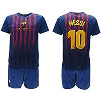 Completo Ufficiale Messi Barcelona Home 2018 2019 in Blister Maglia + Pantaloncini Barcellona 10 Bimbo Bambino
