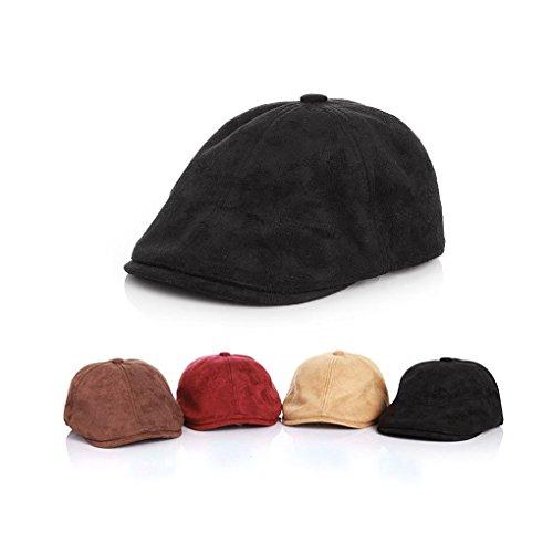 Irish Cap Child Solid Berets Imitation Suede Baby Newsboy Caps(Black)