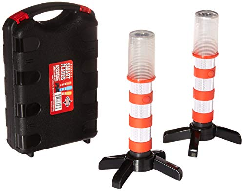 (Red LED Emergency Roadside Flares - Magnetic Base and Upright Stand - These Magnatek Red LED Beacons May Save Your Life - Our Road Flares Come with Batteries and Solid Storage case.)