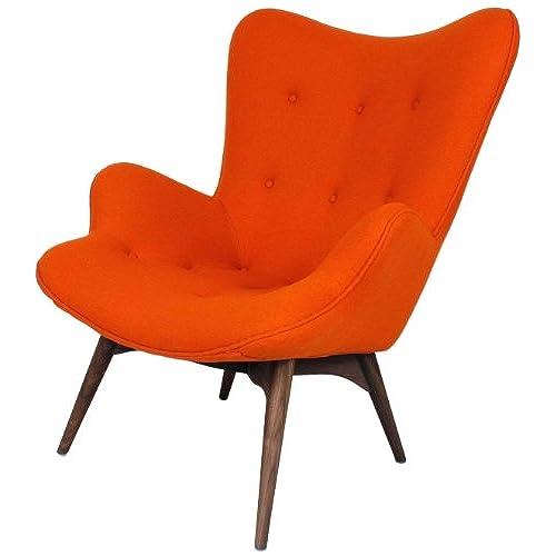 Charmant Control Brand Teddy Bear Lounge Chair, Orange Wool Upholstery