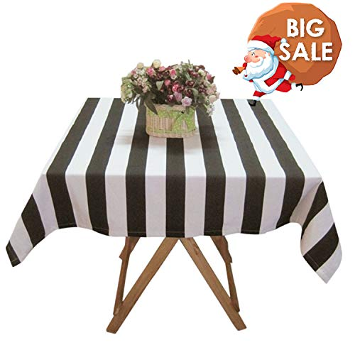 USTIDE Large Black and White Striped Tablecloth Cotton Tablecloth Restaurant Table Cover for Party, Oblong, -