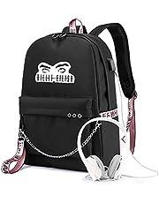 Flyself Girls Billie Eilish Backpack Dual Zipper Laptop Travel Daypack with USB Charging School Students Bag For Women&Men