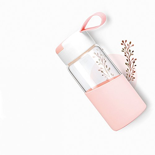 ZDZDZ 12OZ Cute Borosilicate Glass Water Bottle for Kids Girls with Silicone Sleeve Strap BPA-Free Clear Glass Wide Mouth Fruit Bottle
