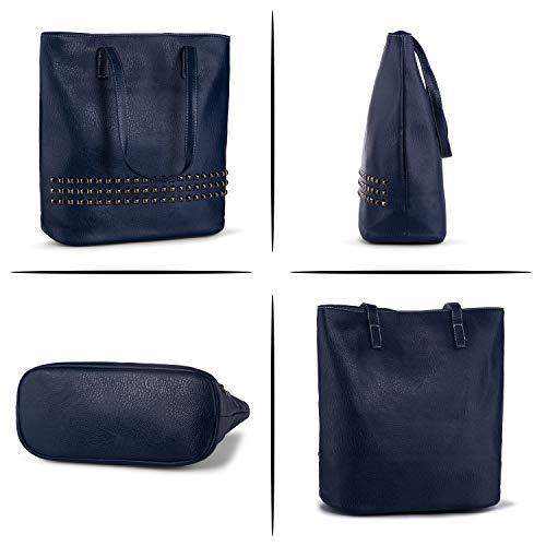 Hombro Azul Tote Remaches Mujer Grande Negro Bolsos Bolso Bolso de Auténtica de Pìel Shopper Bandolera de S0ZAw8qn5