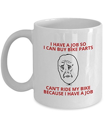 """Candid Awe - Gifts For BMX Biker Lovers: """"Can't Ride My Bike Because I Have A Job"""" Unique Funny Bike Rider, BMX Stunts, Motocross, Extreme Sports, Biking, 11oz, White Mug, Ceramic Coffee Cup"""