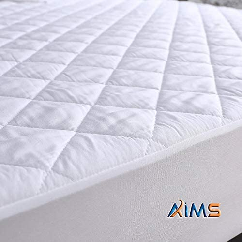 AIMS Waterproof Quilted Mattress Protector 40cm Extra Deep Fitted Cover Microfiber Quilted Topper fitted sheet Elasticated Skirts (Double 140X190)