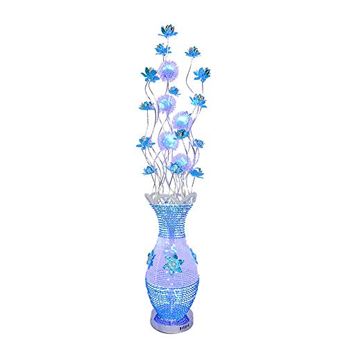 (Belief Rebirth Flower Vase Table Floor Lamp Large Modern Aluminium Trendy Petal Design Home Office Party Lighting LED Bulbs - 150x25cm - Blue & Silver)