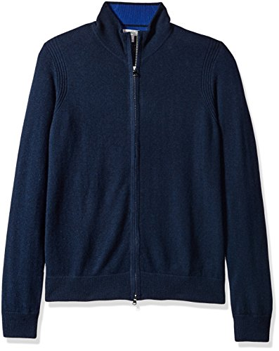 Phenix Cashmere Men's Double Zip Mock Cardigan Sweater With Color Tipping, Navy/Cobalt, XX-Large (Zip Cashmere Sweater)