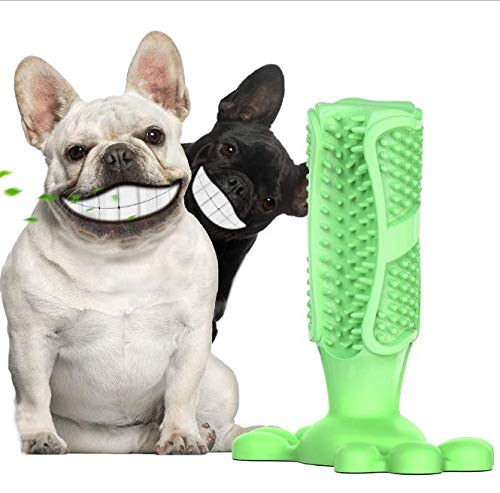 Magnoloran Dog Toothbrush Stick, Dog Teeth Cleaning Brushing Stick Dog Tooth Brush Dental Care Effective Doggy Teeth Cleaning Massager Nontoxic Natural Rubber Bite Resistant Chew Toys for Pet Puppies