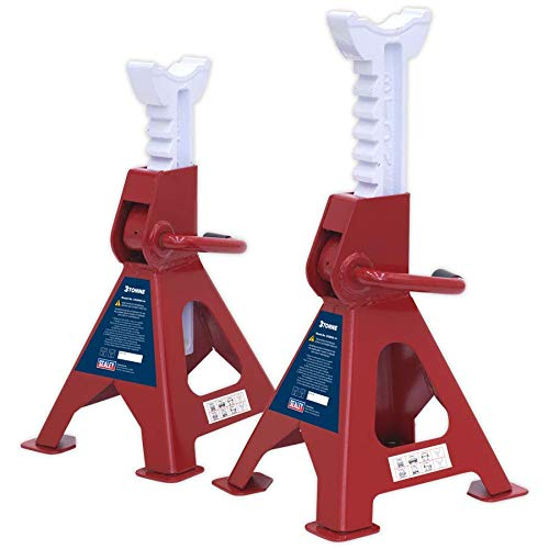 Sealey VS2003 Ratchet Type Axle Stands, Multicoloured, 3 Ton